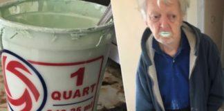 Homem come metade de um balde de tinta