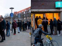 Holandeses fazem fila para comprarem erva