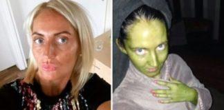 Mulher fica verde