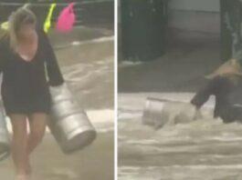 Mulher dá tudo para salvar barris de cerveja